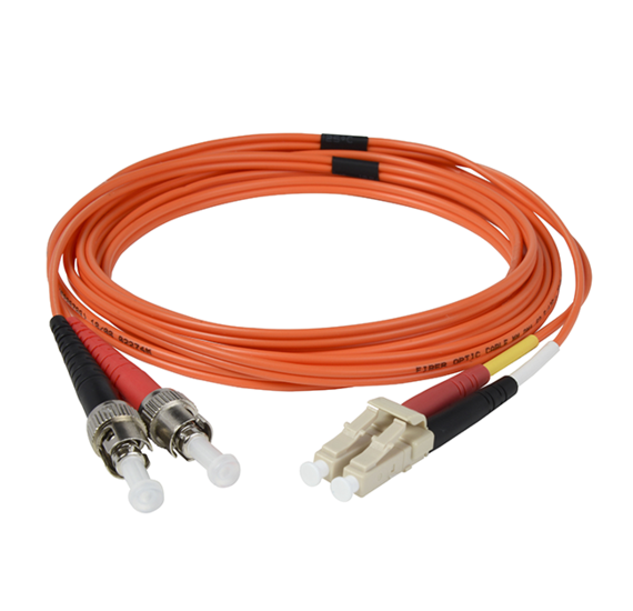 Multimode OM1 LC/ST Fiber Optic Cable with Clips